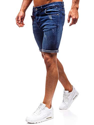 BOLF Herren Hose Kurzehose Jeans Clubwear Denim Street Style täglicher Stil The Gangster 1059 Dunkelblau M [7G7]