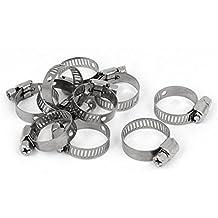 DealMux cable de tubo roscado ajustable Worm Gear abrazadera de manguera tono de plata de 16-25 10pcs