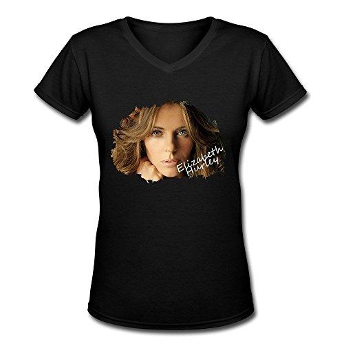 Damen's V Neck Elizabeth Hurley T Shirt Medium (V-neck Hurley)