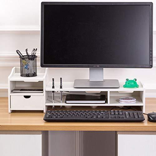 HKPLDE Monitorständer/Holz Stabiler mit Schubladen mit Stauraum rutschfesten Bildschirmständer Bildschirm mit Stauraum Für Heim und Büro-Holzmaserung