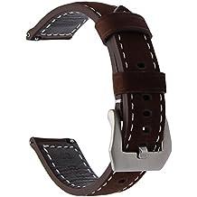 TRUMiRR 22mm Correa de liberación rápida de banda de reloj de cuero genuino de la vendimia para Samsung Gear S3 Classic Frontier, Gear 2 Neo Live, Moto 360 2 46mm, Asus ZenWatch 1 2 Men,Pebble Time
