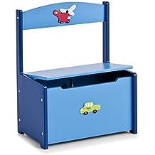 Zeller 13474 - Banco infantil con arcón, diseño de coche y avión, tablero DM, 41 x 26 x 51 cm, color azul