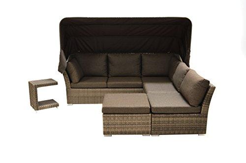 Ploß Polyrattan-Loungeset Rocking - XL-Sitzgruppe-Set 5-teilig in Grau-Braun mit Auflagen in...