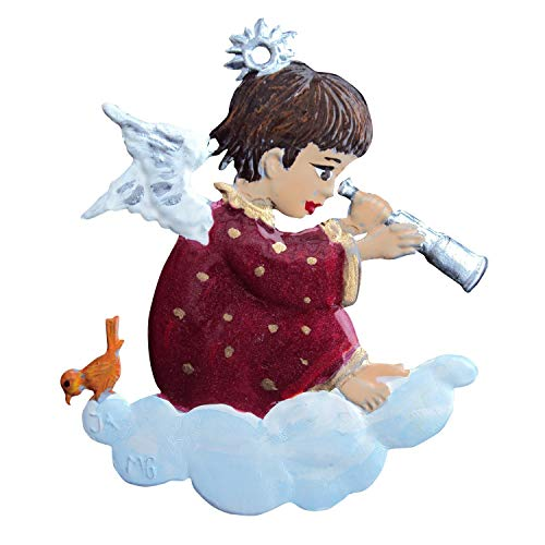 Zinngeschenke Engel mit Fernrohr aus Zinn von Hand bemalt (HxB) 5,0 x 4,5 cm