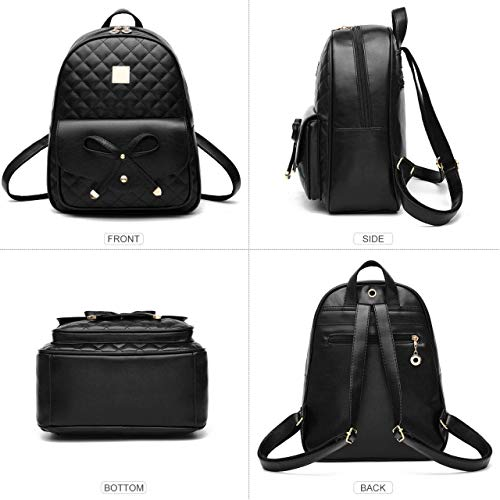 Alice Fashion Girls Bowknot 2-PCS Fashion Backpack Cute Mini Leather Backpack Purse for Women Image 4
