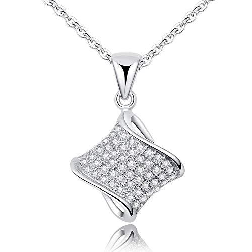 WYTDD Anhänger Damen Halskette Kette kleine Taille eingelegten Zirkon Flash Diamantschmuck