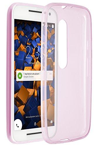 mumbi UltraSlim Hülle für Motorola Moto G (3. Generation) Schutzhülle Transparent Rosa (Ultra Slim - 0.55 mm)