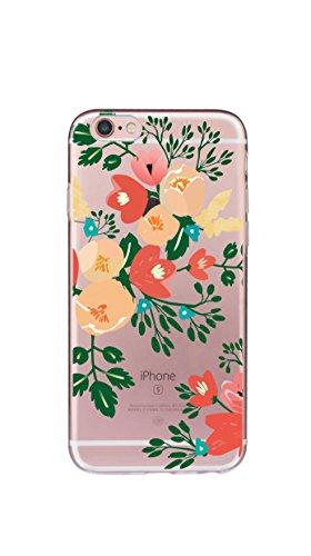 Case Cover Per iphone 6/6S Plus 5.5 pollici Trasparente TPU Gel Silicone Bumper Protettivo Skin Custodia Ultra-sottile Flessibile morbido Protettiva Shell(piuma 2) tulipano