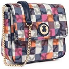 Bolso Bandolera Tous pequeña Kaos Vichy de Lona en color marino con bolso verano Tous de regalo