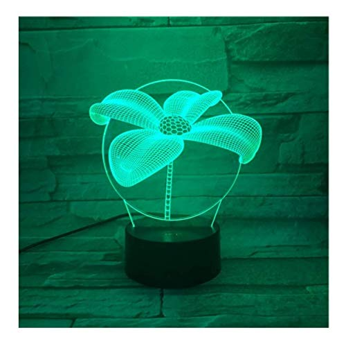 1/2 Schatten Lampe (Vier Kleeblatt Tisch 3D Lampe Touch Sensor Rbg Neuheit Beleuchtung Kind Kinder Baby Geschenk Gadget Led Nachtlicht Dekor)