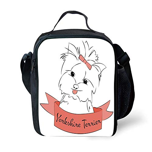 Buckle Flap Bag (ZKHTO School Supplies Yorkie,Cute Puppy with Hair Buckle Yorkie Terrier Animal Ribbon Cartoon Character Print Decorative,Pink White for Girls or Boys Washable)