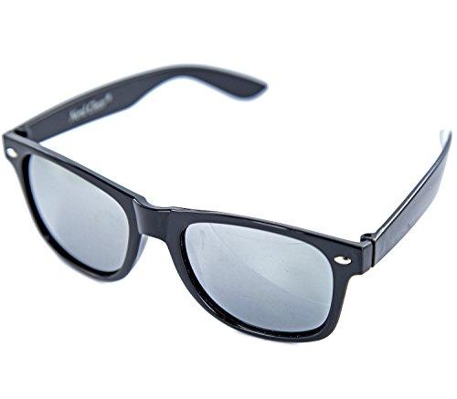 Nick and Ben Sonnen-Brille schwarz Damen Herren Wayfarer verspiegelt Panto-Brille Geek-Brille