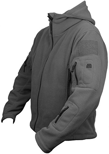 Herren-winter-jacken (Herren Fleece Hoodie Jacke Winter warm Outdoor Militär Army Jagd Taktisch Paintball Wandern Sport Wintersport)