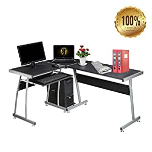 Dripex Wood L-Shape Round Corner Computer Desk PC Table Laptop Workstation for Home or Office - Black