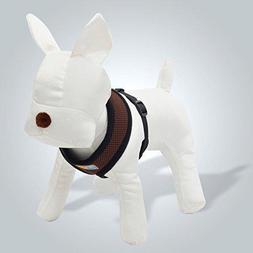 Preisvergleich Produktbild XUJW-PET, Haustier Kleine Hundegeschirr Verstellbare weiche Mesh Welpen Hund Stoff gepolsterte Weste ( Color : Browen , Size : L(Neck34cm Chester50-64cm) )