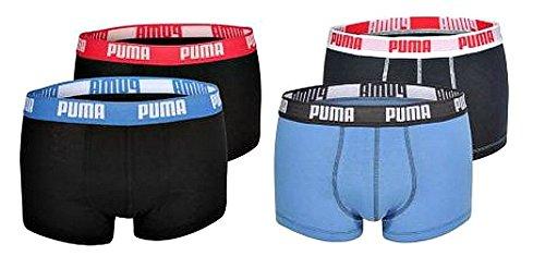 4er Pack Puma Basic Shortboxer, kurzer modischer Schnitt + sehr schneller Versand durch Amazon marine/rotblau