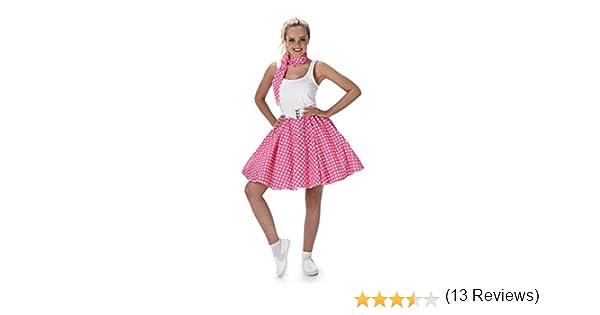 Adulti 50s Rock N Roll A Pois Danza Cerchio Gonna Del Vestito Costume Grease