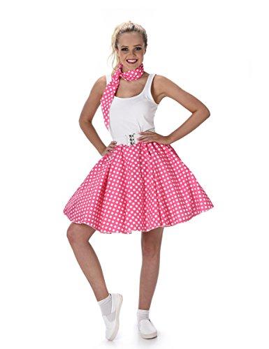 Generique - 50er Jahre Kostüm für Damen pink-weiß gepunktet Rockabilly ()