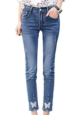 DQQ Women's Beaded Cotton Slim-Fit Pencil Stretch Skinny Jeans UK 8 Blue