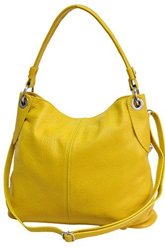 AMBRA Moda Damen echt Ledertasche Handtasche Schultertasche Beutel Shopper Umhängtasche GL012 (Gelb)