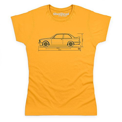 PistonHeads Bimmer E30 Sports Car T-Shirt, Damen Gelb