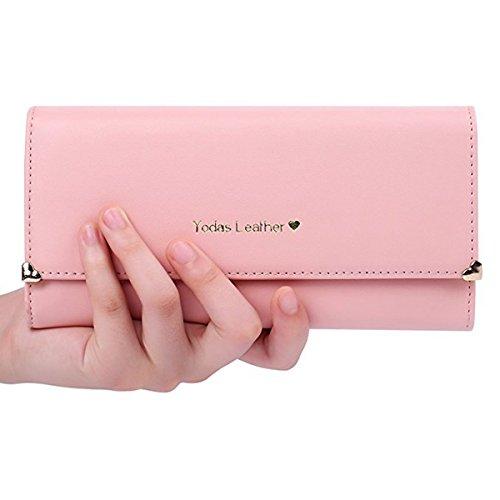 Jastore® PU Leder Geldbörse Süß Kreditkarte Koffer Damen Portemonnaie (Rosa)