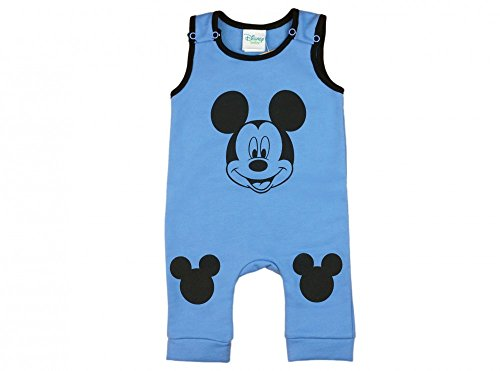 Jungen BABY-STRAMPLER GEFÜTTERT von Mickey Mouse in GRÖSSE 74, 80, 86, 92, 98 in Blau oder Grau, Wanzi, Baby-Schlafanzug ÄRMEL-LOS, Druck-Knöpfe, Spiel-Anzug, EINTEILER-OVERALL Color Blau, Size 74 (Lange Bereich T-shirts Ärmel)