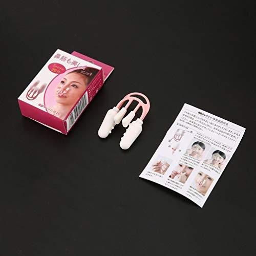 Naso su Lifting Shaping Shaper Clip Naso Clipper Bridge Raddrizzatore del naso Correttore del naso Massaggiatore Trucco Beauty Tool - Bianco e rosa