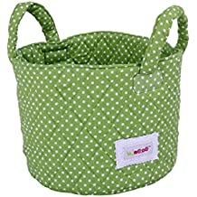 Minene 1,525 cesta de almacenamiento, pequeño, verde con puntos blancos