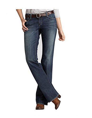 Jeans Bootcut Donna Breve formato di Eddie Bauer - cotone, Scuro Glacier, 98% cotone 2% spandex. 2% elastam, Donna, 32 (US 2)