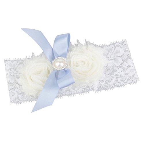 PIXNOR Hochzeitssuite Bowknot Pearl dekorierten Spitze Strumpfband Hochzeit