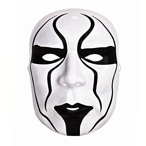 osplay weiß/schwarz WWE Offiziell Sting Das Gesicht Bedeckend Kostüm Ringer Maske - Universalgröße mit elastischer band (Sting Halloween Kostüme)