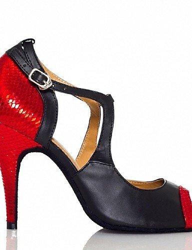 ShangYi Chaussures de danse ( Rouge ) - Non Personnalisables - Talon Aiguille - Cuir - Latine Red