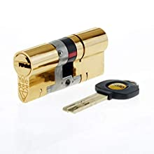 Yale B-YS3-4535B Anti-Snap 3 Star Euro Double Cylinder, High Security, 45:35 (80mm), Brass Finish
