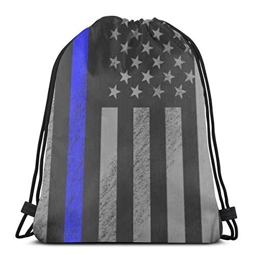 Bag hat Distressed Police Style Usa Flag 3D Print Drawstring Backpack Rucksack Shoulder Gym for Adult 16.9