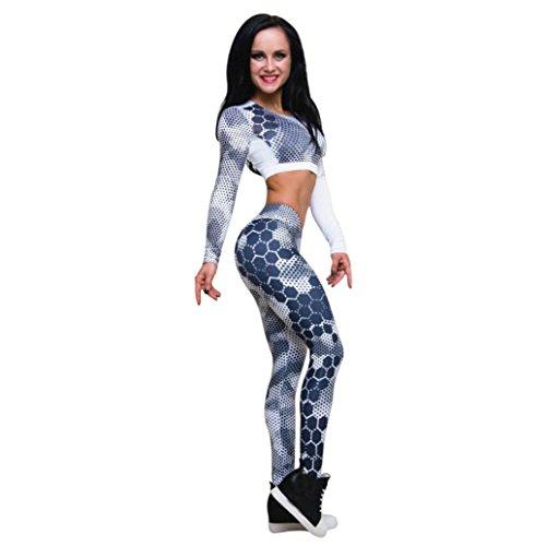 ABsoar Leggings Sport Suit Damen Fitness Suit Damen Hosenanzug Damen Festlich Fitness Sport Anzug Lauf Yoga Trainingsanzug Frau Gym Kleidung Freizeit Running Suit,ABsoar (S, Blau Bluse)