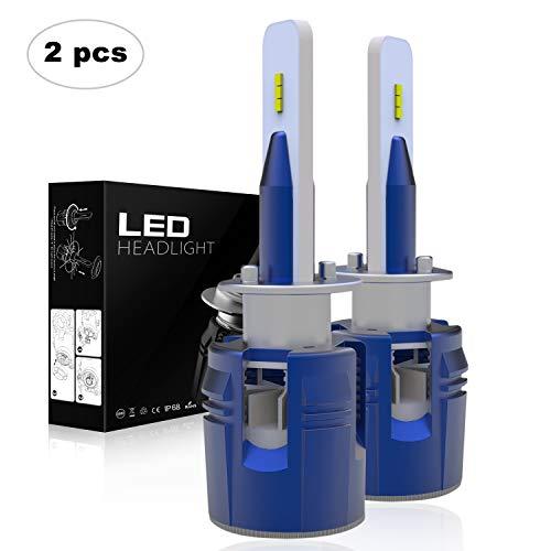 AAIWA Lampadine LED H1, LED Faro dell'automobile LED Auto Lampade Faro 60W 10000LM 6500K Bianco Kit di conversione, 2Anni di Garanzia