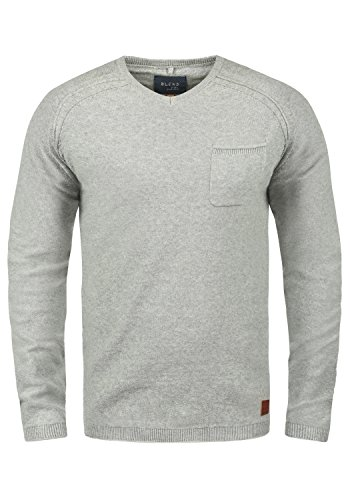 Blend Chuck Herren Strickpullover Feinstrick Pullover Mit V-Ausschnitt Und Brusttasche Aus 100% Baumwolle, Größe:M, Farbe:Stone Mix (70813) -