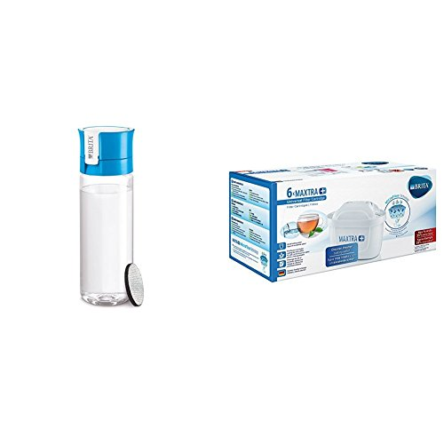Brita - Botella Fill & GO con filtro, 0,6 L color azul + Filtro MAXTRA+ 100 l, paquete de 6 meses