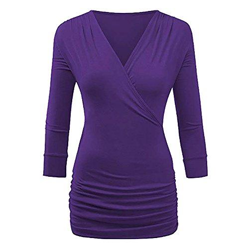 Bluse Damen Pullover ABsoar Sweatshirt Kleid DREI Viertel Ärmel Kleider Mini Kleider Lässig T-Shirt Lange Pullover Wrap Front Drape Top Bluse (Drape Ärmel Lange Neck Top)