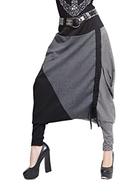 ellazhu Mujer Gran Baggy Harén con cordón Pantalón Largo Pants Onesize gy259