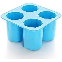4-cup Ice Cube Molds recipiente per contenitori per alimenti, vassoio Jelly, biscotti, cioccolato, caramelle, cupcake dolci in medium Blue