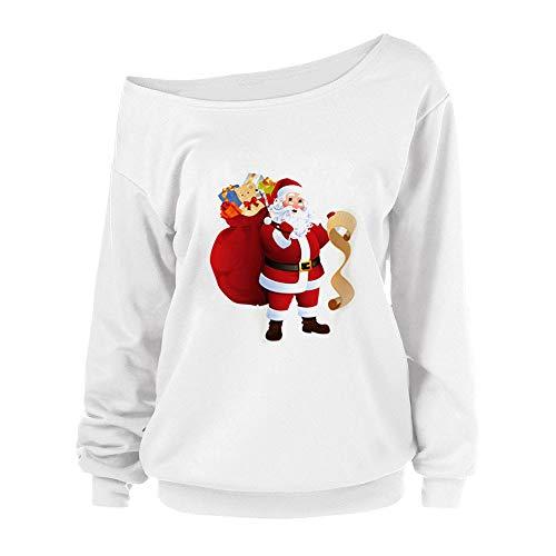 TWIFER Langärmelige Damen Schulterfrei Frohe Weihnachten Print Urlaub Sweatshirts (Ninja Kostüm Zombie)