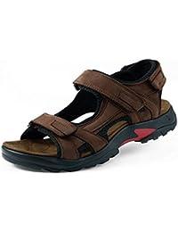 gracosy Sandales de Sports Hommes, Chaussures de Randonnée Été en Cuir à Scratch Talons Plats Bout Ouvert pour Trekking Marche Plage Ville - Marron Kaki