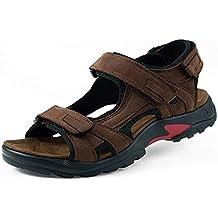 94bc9c28f7eeb Gracosy Sandales de Sports Hommes, Chaussures de Randonnée Été en Cuir à  Scratch Talons Plats