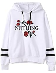 Reaso Femmes Sweats à Capuche Hiver Retro Blouse à manches longues Imprimé Floral Sweatshirt Hooded Tops Casual Pullover de Sport Hiphop Baggy Jogging