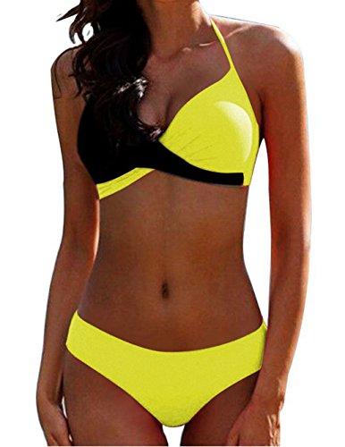 AHOOME Damen Bikini Push Up Gepolstert Streifen rayures Triangel Brasilianische Bademode Bikini-Sets(Gelb-3,L)