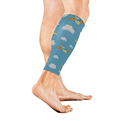 Calf Compression Sleeve for Men & Women, Premium Leg Compression Socks for Shin Splints and Varicose Veins, Elastic Footless Sleeve for Running, Cycling, Travel & Recovery, Flamingo Pattern -