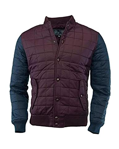BRAVE SOUL MENS NAVY BURGUNDY HAWKSEYE NYLON BOX QUILTED BASEBALL JACKET RRP £39.99 (LARGE)