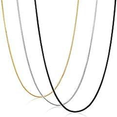 Idea Regalo - sailimue 0.9MM Gioielli in Acciaio Inossidabile 3 Pezzi Collana Uomo Donna Catena Serpente Argento Nero Dorato Collegamento Lunghe 51CM